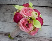Fuchsia and Lime Peony Ranunculus and Calla Lily Wedding Bouquet with Rhinestone Accents