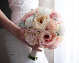 peach ivory and blush peony and garden rose wedding bouquet with lambs ear - Garden Rose And Peony Bouquet
