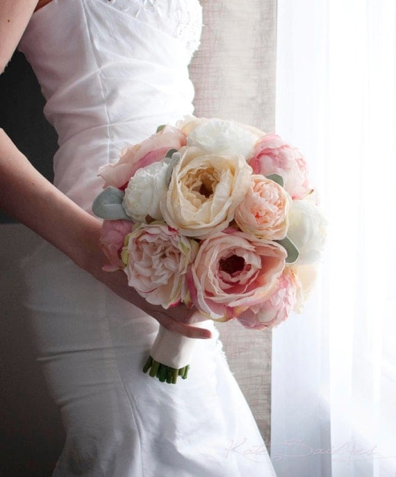 Peach ivory and blush peony and garden rose wedding bouquet - Garden rose bouquet ...