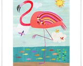 Very Pink Flamingo // Giclee Art Print // Girl's Room