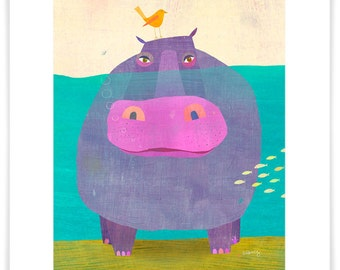 Underwater Hippo // Giclee Art Print // Nursery or Bedroom Decor // Children's Illustration