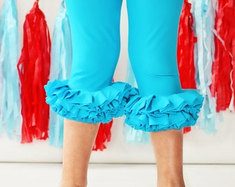 Girls teal capri ruffle leggings