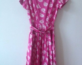 50s summer dress / Pink and white / Floral / Small S / Bow