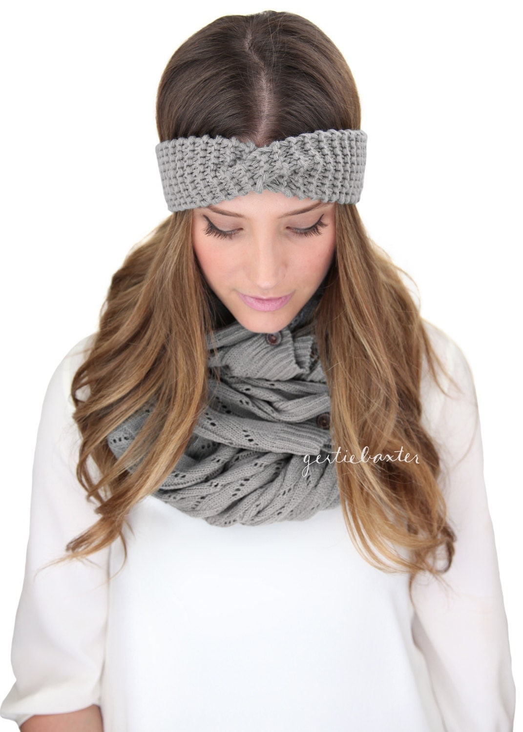GRAY SKINNY KNIT headband, turban knit earwarmer headband, knitted headband