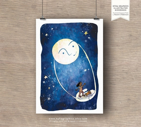 Fly Me to The Moon, A4 Giclée Print, Nursery Art, art for kids room, art for girls, art print, archival print