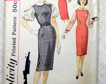 Vintage Pattern Simplicity 3280 1950s Rockabilly retro dress full skirt Bust 36 wiggle jumper VLV Peter Pan collar jumper blouse