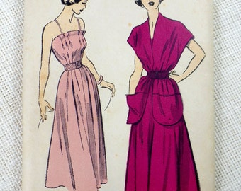 Vintage pattern Advance 5098 1950s sundress fit and flare dress Sewing Cape Capelet pockets Full Skirt Bust 32 Rockabilly Dress Bombshell