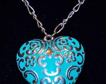 Beautiful & Bold Aqua Heart Necklace