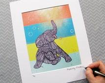 Baby Elephant Zentangle Print