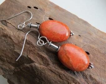 orange apple fossil coral earrings. FLAMBOYANT. Bali sterling silver earrings. casual earrings. handmade natural gemstone earrings. lovely.