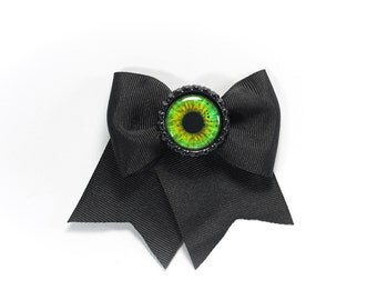 Green Eyeball Bottle Cap Traditional Black Bow Hair Clip