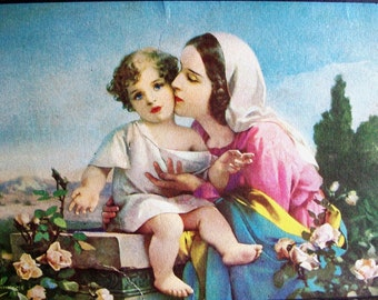 "Antique RELIGIOUS LITHOGRAPH, Mary & Baby JESUS, Soft, Tender Print, 7.5"" x 4.5""+, Signed Piece"