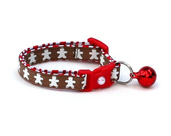 Christmas Cat Collar -Gingerbread Cookies on Brown - Kitten or Large Size
