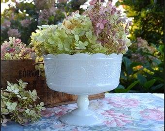 Vintage Milk Glass Compote / Milk Glass Wedding Decor / Brody Milk Glass