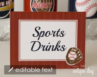 Baseball Food Labels - text EDITABLE & PRINTABLE Food Labels - Baseball Place Cards - Instant Download // BAS-07