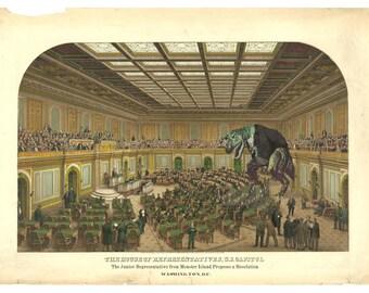 Digital Print, Washington DC, Dinosaur Art, Congress, Tyrannosaurus Rex, Political, Wall Art, Alternate Histories, Washington, Geekery