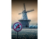 No Tilting at the Windmills with a Don Quixote Sign and Dutch Windmill No.0011 Wall Decor Infrared Landscape Color Fine Art Photography