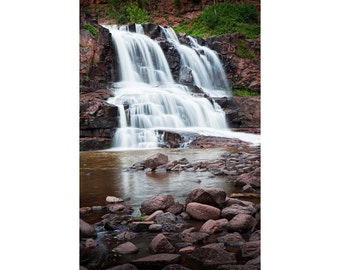 Lower Water Falls at Gooseberry Falls State Park near Lake Superior in Minnesota No.116 Vertical Nature Landscape Fine Art Photography