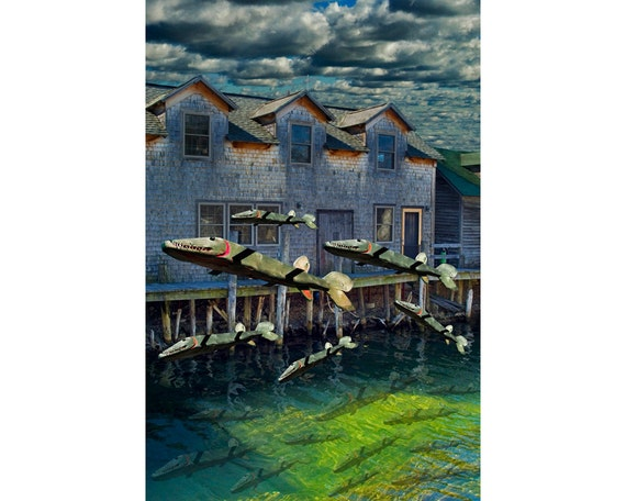 Wooden Fish Migration on the Carp River by Fishtown in Leland Michigan A Fine Art Surreal Fantasy Photograph