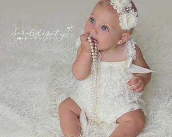 Ivory Petti Romper Set - Lace Petti Romper and Headband Set - Baby Girl Toddler Photo Prop
