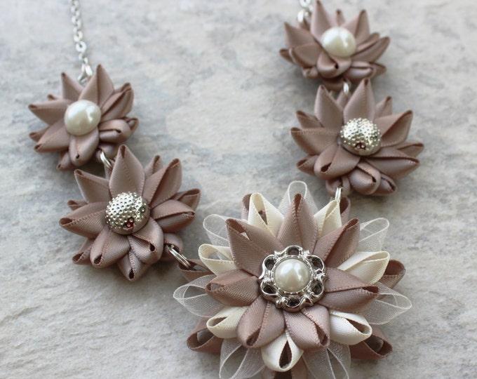 Statement Necklaces, Unique Necklace, Ribbon Necklaces, Flower Statement Necklace, Big Necklace, Necklace Set, Jewelry Gift Set, Mocha