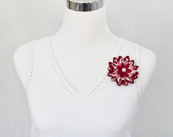 Flower Corsage Pin, Flower Pin, Pink and Maroon Corsage Pin, Wine Corsage, Wine Wedding Flowers, Wine Bridesmaid Flower, Mother of Bride