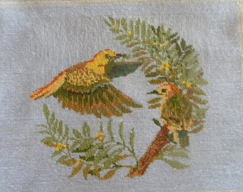 Completed Tapestry - Honey Eaters -  Vintage  Baxtergrafik  1990