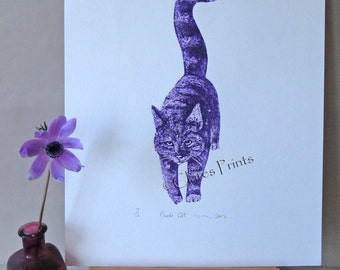 Purple Cat Art Limited Edition Original Hand-Pulled Collograph Print
