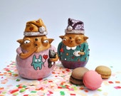 Loose tea or coffee holders: two yawning babooshies in pyjamas