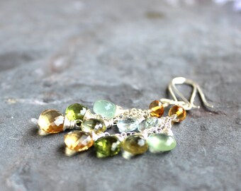 Multi Stone Earrings Mixed Gemstone Earrings Citrine Lemon Lime Cascade Sterling Silver Dangle Earrings Summer