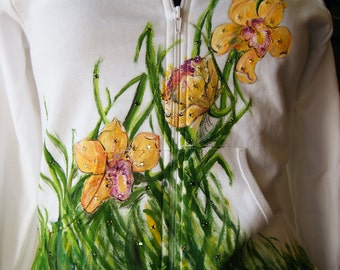 SALE Handpainted and rhinestoned Orchid white American Apparel Hoodie