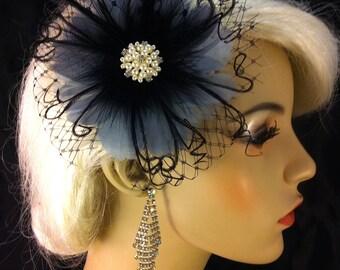 Feather Hair Clip, Bridal Hair Flower, Bridal Fascinator, Wedding Hair Flower, Bridal Headpiece, 1920s Headpiece, Color Choice