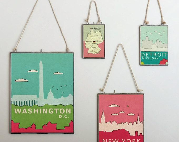 Detroit Michigan // Typographic Digital Illustration Skyline City Art Poster Print, Kids Room, Nursery Art, Architecture, Urban Chic, Loft