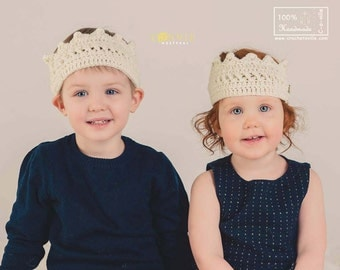 Princess or Prince Crown, Ivory Crochet Headband, Baby Crown for Dress Up, Pretend Play, Messy Bun Hat, Birthday accessory, Photo prop