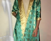 Vtg green and cream satin asian reversible jacket size m