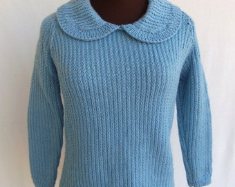 Vintage 60s Sweater Pullover Handmade Pastel Blue Wool  S / M