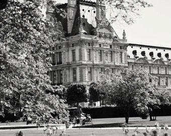 Paris Photography - Black and White Print - Spring in Paris - Louvre Photograph - Paris Gardens - French Decor - Parisian Art - Paris Photo