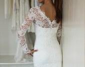 Short Wedding Dress with Sleeves, Reception Dress, French Lace Wedding dress, V-back Wedding Dress, Illusion Neckline Wedding Dress