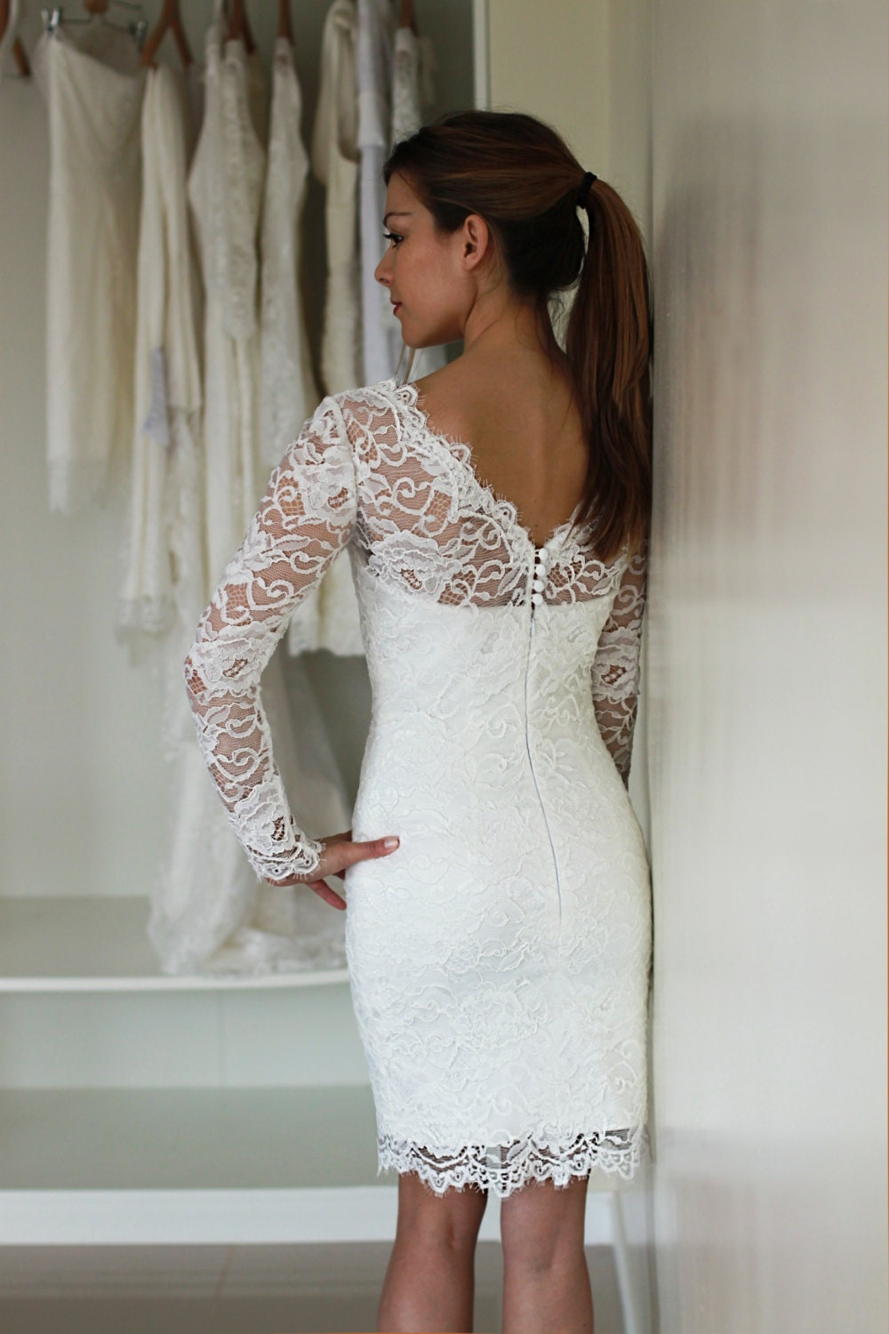 Short wedding dress with sleeves reception dress french lace for French lace wedding dress