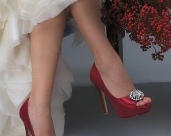 Wedding Shoes - Custom Colors 250 Choices -Silk Satin, Peep Toe 4 inch PB787 Bridal Heels, Rhinestone Brooch