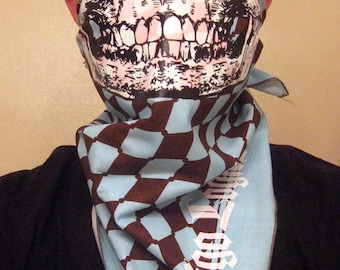 Baby Blue and brown Argyle diamond pattern Calavera Sugar Skull Bandana Mask neck warmer scarf clownsec clown checker Fashion