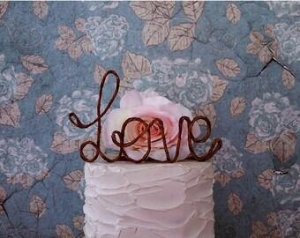 LOVE Rustic Wedding Cake Topper, Wedding Cake Topper, Bridal Shower Cake Decoration, Engagement Party Cake Decoration, Wedding Centerpiece