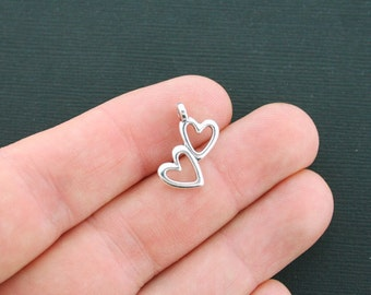15 Hearts Charms Antique Silver Tone Double Hearts - SC4450