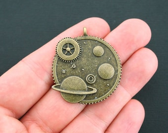2 Steampunk Charms Antique Bronze Tone Gears Planets - BC1312
