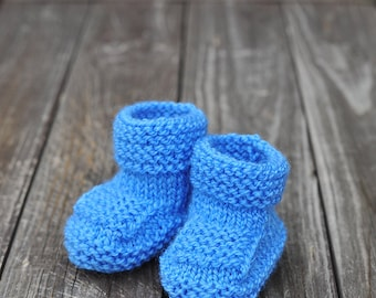 Baby Boy Girl Blue warm wool Booties / Socks for Fall Winter Spring, birthday, baby shower, Christmas gift size - 0-3-6-9 months,