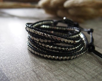 5 Wraps Silver Nuggets Beaded Simulated Leather Wrap Bracelet 10878