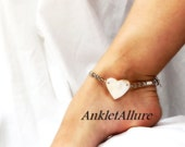 Beachy Feet Surf Sand Lover Shell Heart Anklet White Ankle Bracelet Cruise Vacation Anklet