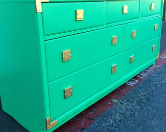 Green Thomasville Campaign 7 Drawer Dresser (Sold Can Make Similar)