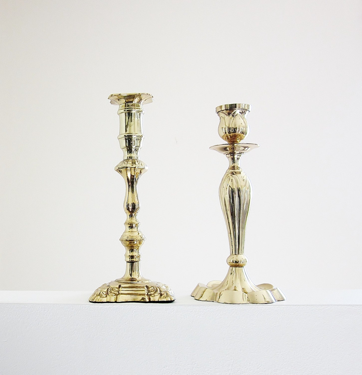 Tall brass candlestick holders mismatched pair metal candle for Cheap tall candlestick holders