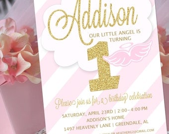 Angel Party Invitation | Little Angel Birthday Invitation | Christening Invitation | Baptism Invitation | 1st Birthday | Amanda's Parties